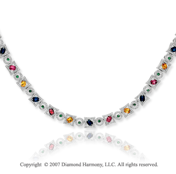 14k White Gold Rainbow Multi Stone 2.15 Carat Diamond Necklace