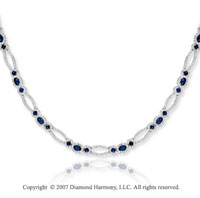 14k White Gold 2.65 Carat Diamond Blue Sapphire Necklace