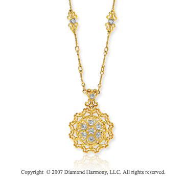 14k Yellow Goldold Elegant Filigree 0.20 Carat Diamond Necklace