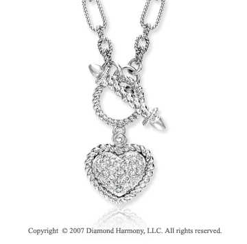 14k White Gold Heart Rope 0.20 Carat Diamond Necklace