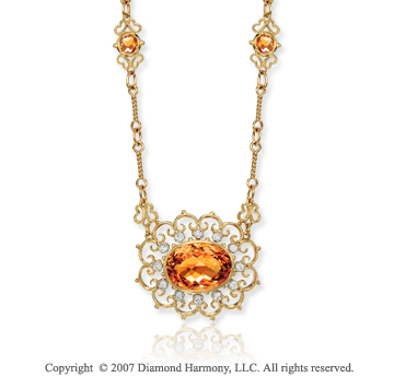 14k Yellow Gold Filigree 1/6 Carat Diamond Citrine Necklace