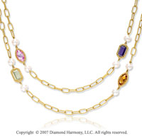 14k Yellow Gold Stylish Bezel Multi Stone Necklace