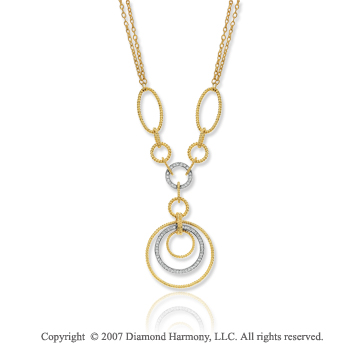 14k Two Tone Gold Multi Circle 3/4 Carat Diamond Necklace