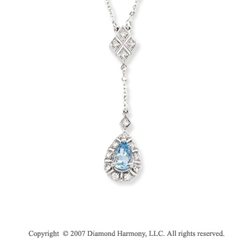 14k White Gold Aquamarine 1/6 Carat Diamond Drop Pendant