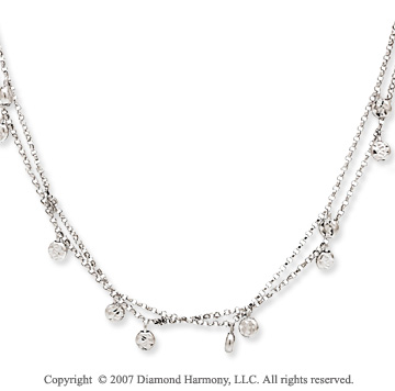 14k White Gold Elegant 18 Inch Two Strand Necklace