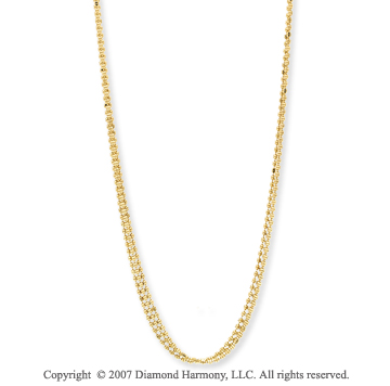 14k Yellow Gold Stylish 18 Inch Three Strand Necklace