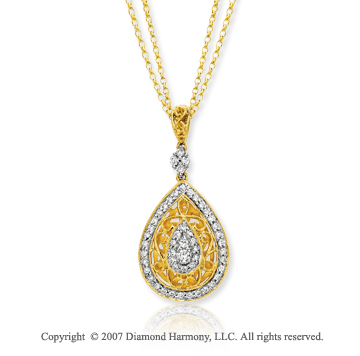 14k Yellow Gold Teardrop 1/3 Carat Diamond Necklace