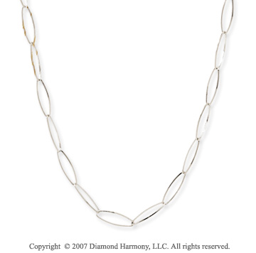14k White Gold 36in Convertible Contempo Link Necklace
