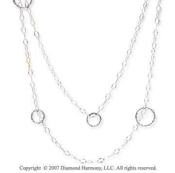 14k White Gold Elegant 36 Inch Convertible Necklace