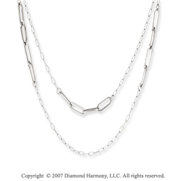14k White Gold 36in Contempo Alternating Link Necklace