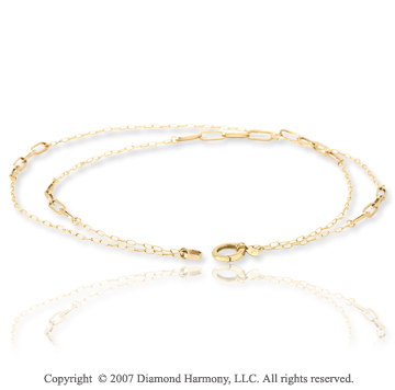 14k Yellow Gold 36in Contempo Alternating Link Necklace