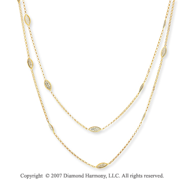 14k Two Tone Gold Classic 36 Inch Convertible Necklace