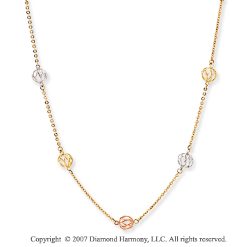 14k Tri Tone Gold Classy 36 Inch Convertible Necklace