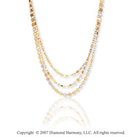 14k Tri Tone Gold 17in 3 Strand Luna Contempo Necklace