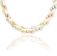 14k Tri Tone Gold 17 Inch 3 Strand Teardrop Necklace