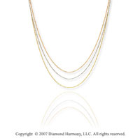 14k Tri Tone Gold 16 18in Adjustable 3 Strand Necklace