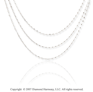 14k White Gold 17in Three Strand Sparkle Link Necklace