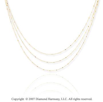 14k Yellow Gold 17in Three Strand Sparkle Link Necklace