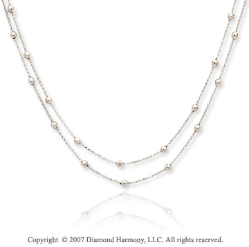 14k White Gold 16 Inch Multi Strand Rosario Necklace
