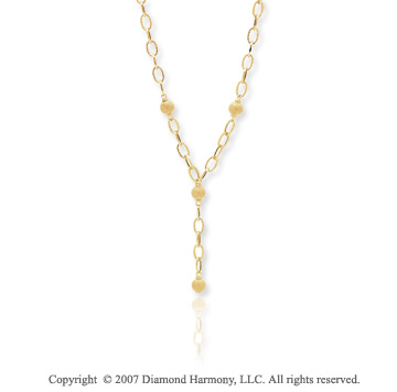 14k Yellow Gold Fashionable 24 Inch Lariat Necklace