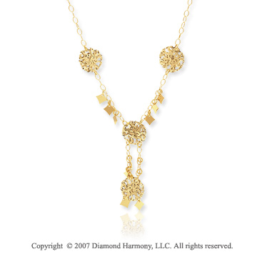 14k Yellow Gold 16 Inch Filigree Mixed Fantasy Necklace