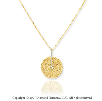 14k Two Tone Gold Adjustable Aurora Medallion Necklace