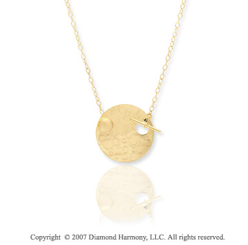 14k Yellow Gold 24in Round Toggle Medallion Necklace