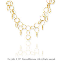 14k Yellow Gold Circles Contempo Cleopatra  Necklace