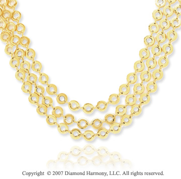 14k Yellow Gold Stylish Three Strand Contempo Necklace