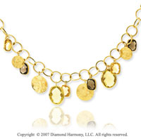 14k Yellow Gold Multi Stone Fine Cushion Oval Necklace