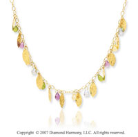 14k Yellow Gold 18 Inch Multi Stone Pear Leaf Necklace