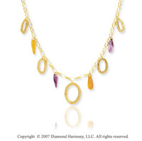 14k Yellow Gold 18 Inch Oval Rings Fashion Necklace