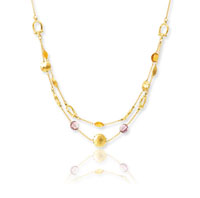 14k Yellow Gold 16 18in Two Strand Multi Color Necklace