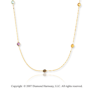 14k Yellow Gold 36in Multi Stone Convertible Necklace