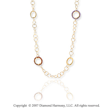 14k Yellow Gold 36in Multi Circle Convertible Necklace