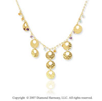 14k Yellow Gold 17in Cleopatra Style Three Gem Necklace