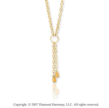 14k Yellow Gold 18 Inch Stylish Pear Citrine Necklace