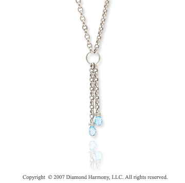 14k Yellow Gold 18in Stylish Pear Blue Topaz Necklace