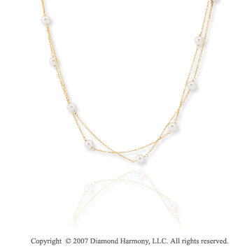 14k Yellow Gold 20 Inch Two Strand Fine Pearl Necklace