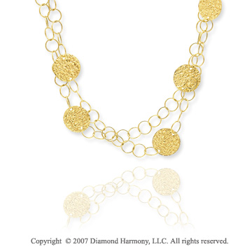 14k Yellow Gold 36in Multiple Circles Fashion Necklace
