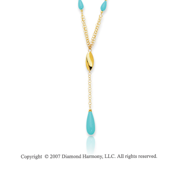 14k Yellow Gold 17 Inch Prong Pear Turquoise Necklace