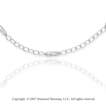 14k White Gold 38in Plain Elegance Convertible Necklace