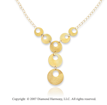 14k Yellow Gold 18 Inch Great Stylish Circles Necklace
