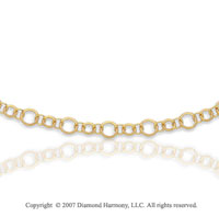 14k Yellow Gold 18 Inch Elegant Rings Carved Necklace