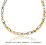 14k Two Tone Gold 18 Inch Stylish Oval Ring Necklace