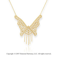 14k Yellow Gold 17in Balinese Bead Butterfly Necklace