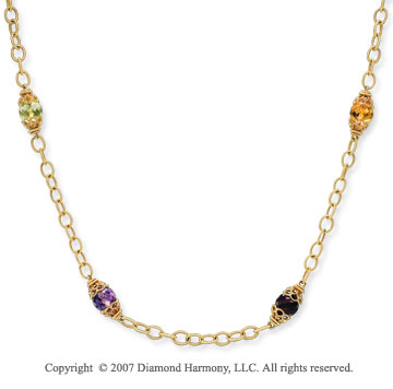 14k Yellow Gold Briolette Multi Gem Layered Necklace