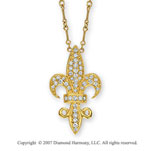 14k Yellow Gold 3/4 Carat Fleur De Lis Diamond Necklace