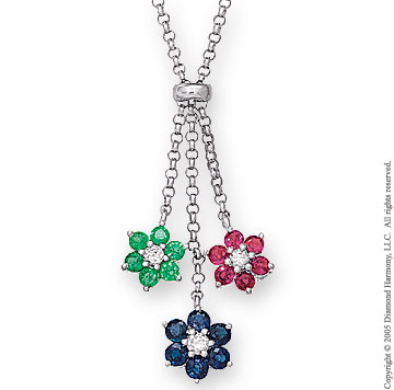 2.75 Carat Diamond & Tricolor 14k White Gold Flowers