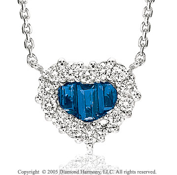 Diamond & Blue Sapphire Heart 14k White Gold Necklace